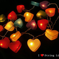 Heart Mulberry Paper Party Mixed Color Set String Lights For Wedding and House decoration (20 Flowers/Set)