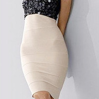 Herve Leger Beaded Cream Black Bandag Dress - &amp;#36;224.00