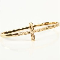 SALE-Gold Side Cross Palm Bracelet