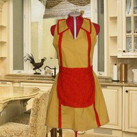 Custom Made Two Broke Girls Inspired Gold Halloween Costume Apron