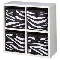XHILARATION White-Zebra 4 Cube Organizer with 4 Bins-Zebra  - 10.2&quot; x 10.28&quot; x 4.57&quot;