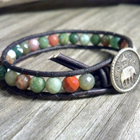 Fancy Jasper Beaded Leather Wrap Bracelet, Gemstone Leather Bracelet, faceted gemstone