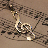 G clef Treble clef Necklace silver music note Pendant charm necklace  music note necklace sol key pendant with 925 Sterling Silver Chain
