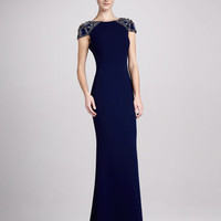 Jersey Gown with Beaded Cap Sleeves