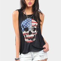 USA Skull Tank - Black