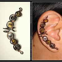 Steampunk Croissant ear cuff by Meowchee on Etsy