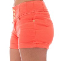 Classic Designs Juniors High Waisted 5 Pocket Stretch Cotton Short