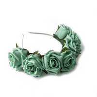Mint Floral Crown Headband