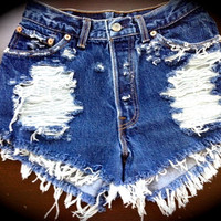 GHOST High waist destroyed denim shorts super by jeansgonewild