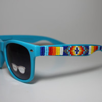 blue hand beaded tribal sunglasses by brownbeadednet on Etsy