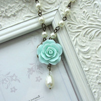 Mint Rose Flower Ivory Pearl Drop Necklace Maid of by Marolsha
