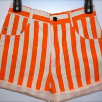 High Waisted Orange Strip Shorts