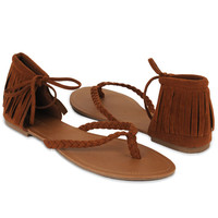 Fringed Ankle Thong Sandals