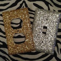 Gold & Silver Coarse Glitter Outlet and Light Cover Set