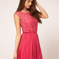 ASOS | ASOS pink Skater Dress With Lace And Mesh at ASOS