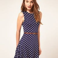 ASOS | ASOS Sleeveless Skater Dress With Belt In Spot Print at ASOS