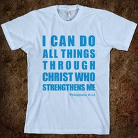 INSPIRATIONAL PHILIPPIANS 4:13 (T-SHIRT - BLUE) - I CAN DO ALL THINGS THROUGH CHRIST