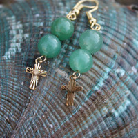 Green Aventurine Earrings - Gold Cross Earrings - Gemstone Earrings - Christian - Gift For Her - Faith - Inspirational - Mothers Day
