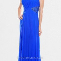 Strapless Royal Blue Beaded Prom Dresses by Decode 1.8