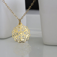 Gold Necklace - Gold Circle Necklace - Dainty gold necklace, Simple small round gold necklace, Filigree necklace, Gold jewelry