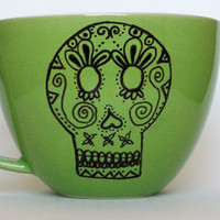 Green Sugar Skull Mug hand painted and one of by FeistyOwlStudio