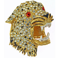1980s Vintage Rhinestone Brooch, Rhinestone and Enamel Tiger Pin, Free Shipping