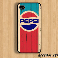 IPHONE 5 CASE Old Grunge Vintage pepsi logo on wood by DecCase