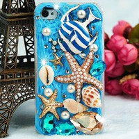 3D Charm Stylish Crystals Sea Theme Blue iPhone and iPod Touch Girly Case Personalized Couples Jewelry | Occasions Uncommon Gifts | Unique Phone Cases | Worldwide Shipping