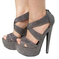 Women`s Qupid Pewter Glitter Strappy Platform High Heels Sandal Pump (Brenner13): Shoes