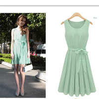 Free Shipping sleeveless pleated vest dress chiffon dress