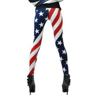 LOCOMO Women Patriot Patriotic American US Star Country Flag Legging Tregging Tight Ankle Length Footless FFT007 One Size Blue Red White: Clothing
