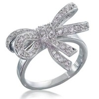 Bling Jewelry Vintage Style CZ Double Ribbon Bow Ring: Jewelry