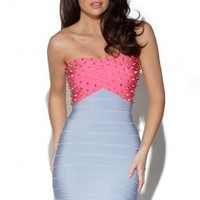 Starry STUDDED CONTRAST BANDAGE DRESS