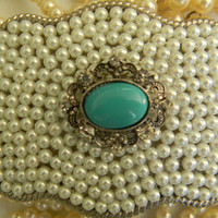 Tiffany Blue Pearl and Rhinestone Belt Buckle Womens