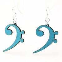 Bass Clef Music Note Laser Cut Wood Earrings by GreenTreeJewelry