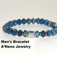 Mens Bracelet  Imperial Jasper  And A Silver  Plated bead  &quot; Positive Change&quot;