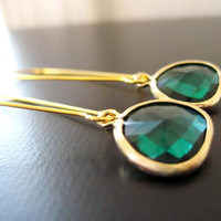 Kyle Earrings in Emerald and Gold by JulieEllynDesigns on Etsy