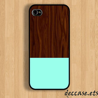 IPHONE 5 CASE - MINT and  Wood texture - iPhone 4 case,iPhone 4S case,iPhone caseHard Plastic Case Rubber Case