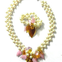 JEWELLERY-Necklace - STATEMENT  designer valentine  Pearls,cr ystals necklace and bracelet set