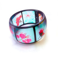 Aqua and Red Resin Bangle. Instagram Bangle Bracelet. Graphic Bangle. Super XL chunky style.