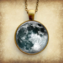 Full Moon Necklace Glass Art Pendant Picture Pendant Photo Pendant Handcrafted Jewelry by Lizabettas