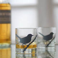 wren bird glasses charcoal set of 4 old fashioned by vital on Etsy
