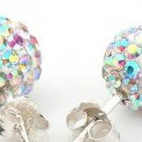 Multi Studs - Shamballa Disco Ball Rainbow Earrings | UsTrendy