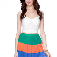 More Color Pleats Skirt in Multi :: tobi