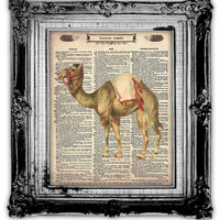 Upcycled Vintage Dictionary Book Page Art Circus Camel