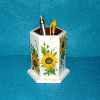 Pen Holder Wooden Desk Organizer Pencil Holder Wood Cup Hand Painted Sunflowers Decorative