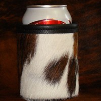 Keep It Cold In This White Tri Colored Red Sky Beer Koozie - Cowhide Leather Can