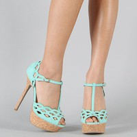 Felina-01 Suede T-Strap Cut Out Peep Toe Sandal