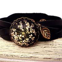 Real Flower Bracelet - genuine braided leather bracelet with real dried flower cabochon and bronze leaf
