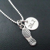 STERLING SILVER RUN DISTANCE - RUNNING SHOE or SHOE PRINT Necklace - Choose a 3 DIMENSIONAL RUNNING SHOE or RUNNING SHOE PRINT - Sterling Silver pendant on Sterling Silver chain or Leather and Sterling
